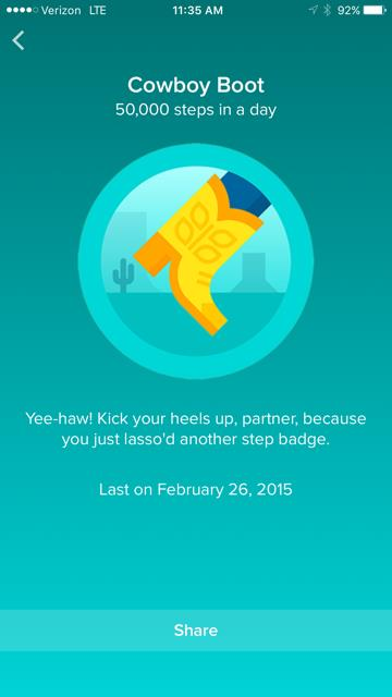 Cowboy boot badge for Fitbit Gamification