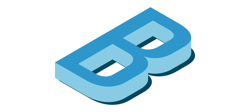 Capital letter B drawn in isometric style.