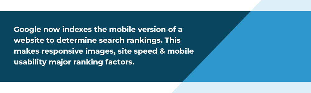 Google mobile first ranking factors: responsive images, site speed and mobile UX.