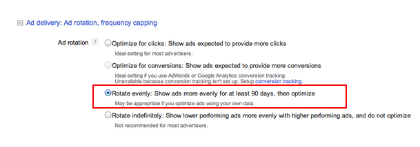 Ad delivery options in Adwords