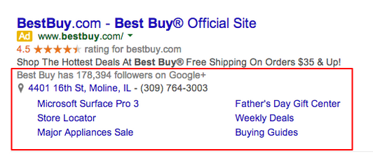 Best Buy Search Ad Example