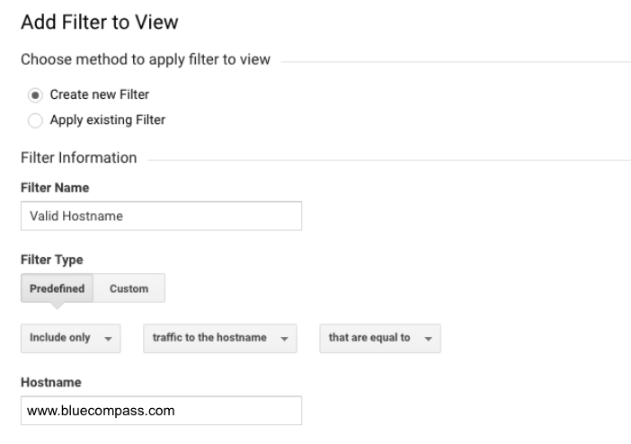 how to set up hostname filter in analytics