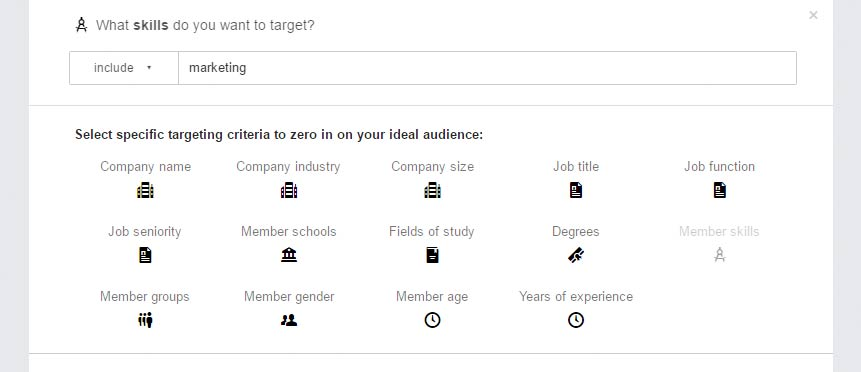 linkedin skills based targeting