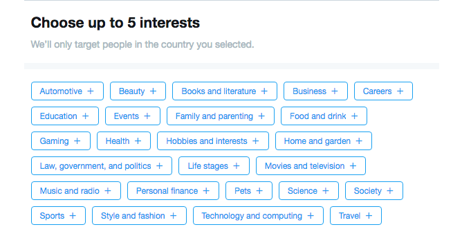 Twitter Interest Targeting