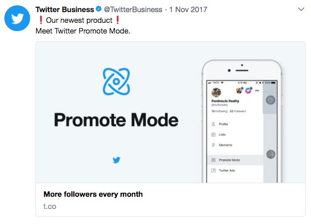 Twitter Promote Mode Ad