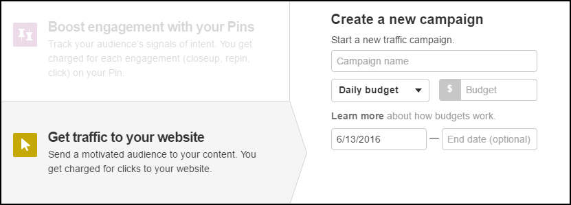 Pinterest Promoted Pins Budget Menu