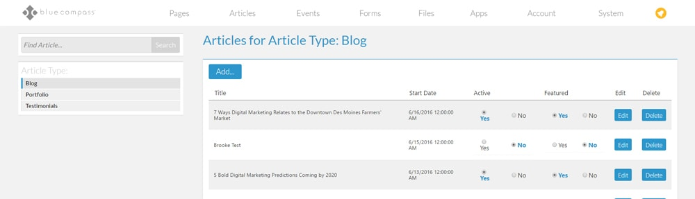 custom content management system articles overview