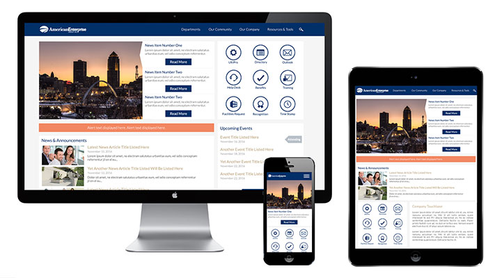 Mobile friendly company intranet software