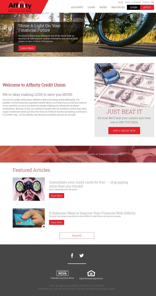 Affinity Credit Union Website Redesign