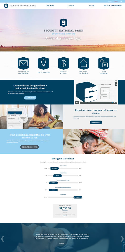 Security National Bank Web Design and Development