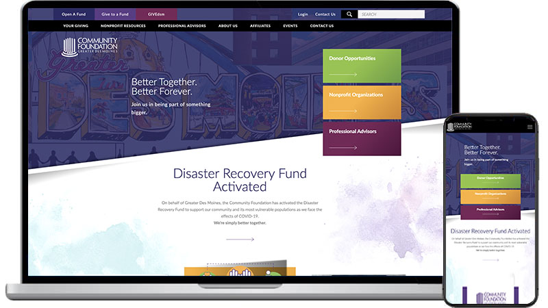 community foundation website design