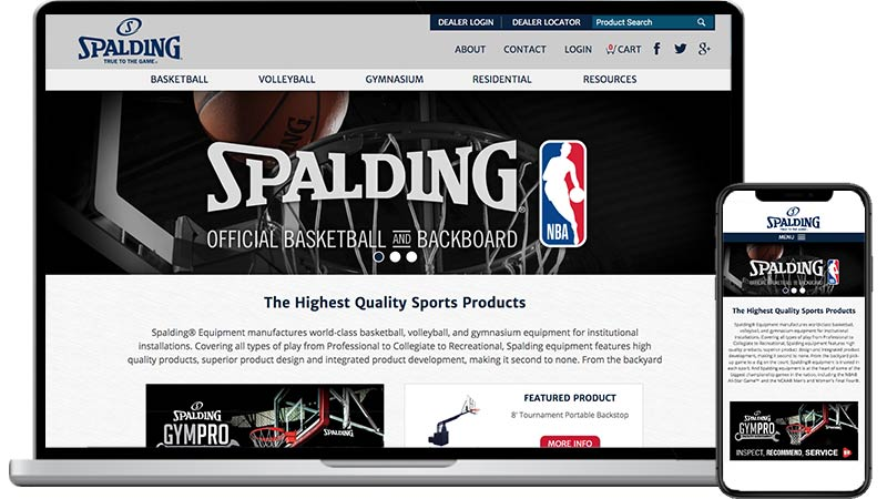 Spalding Sports Equipment website design