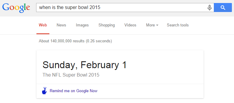 Google instant results of The NFL Super Bowl 2015